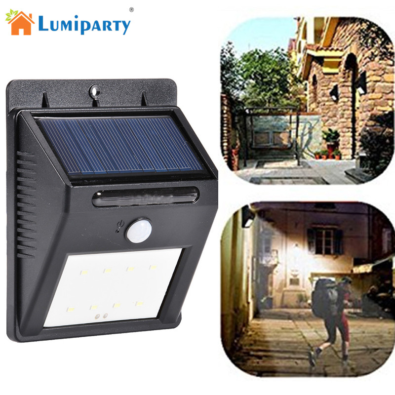 LumiParty 4Packs IP65 Solar LED Flood Security Garden Light PIR Motion Sensor 8 LED Path Wall Lamps Outdoor Emergency Lamp