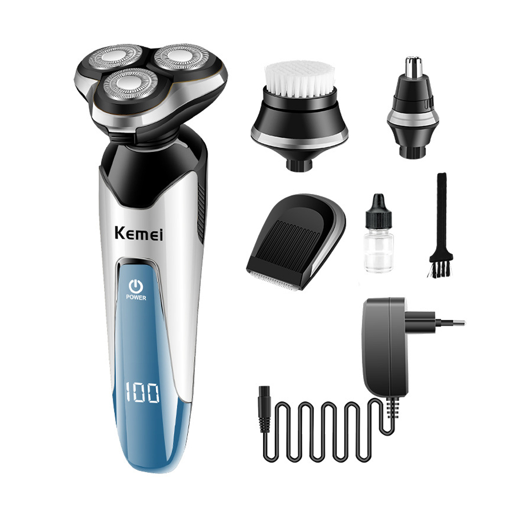 100-240V Electric Shaver Kemei Shaver Electric Epilator Floating Triple Blade Heads IPX7 Washable Shaving Machine Face Care philips brl130 satinshave advanced wet and dry electric shaver
