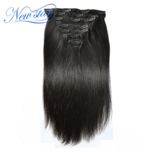 New Star Clip In Brazilian Straight Virgin Hair Extensions 7Pcs/Set 120G Natural Color 100% Human Hair Free Shipping