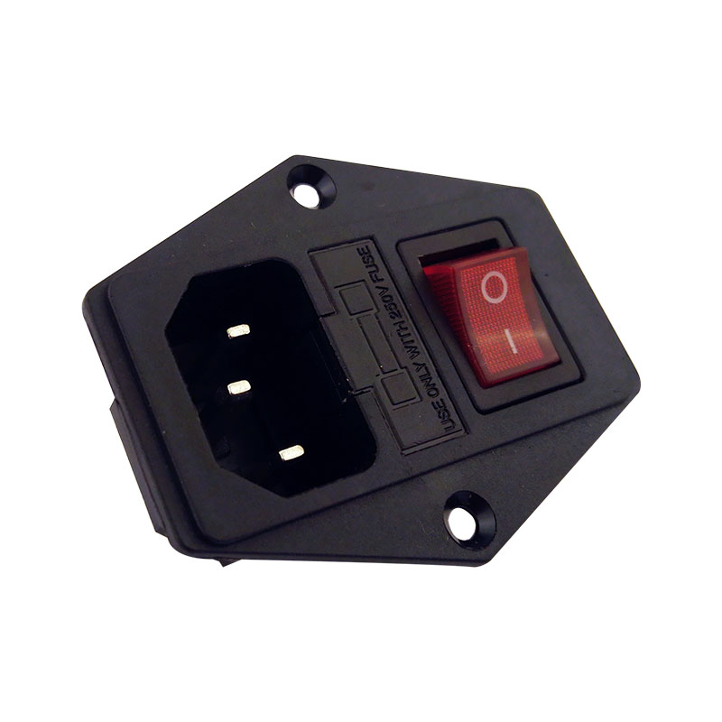 With 10A fuse Red Light Power Switch AC Power Socket 10A 250V Connector Plug AC-D10FS6 22mm 24mm black mens genuine leather watch strap band