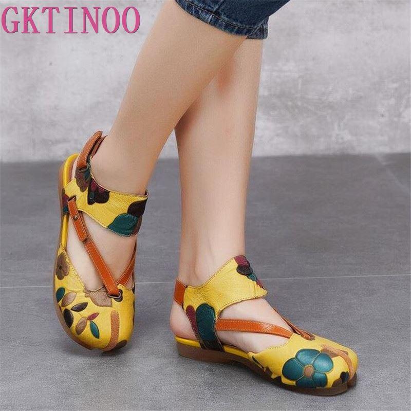 2019 sommer Original Echtes Leder Schuhe Frauen Sandalen Vintage Stil Schuhe Frauen Handgemachte Blumen Design Damen Flache Sandalen-in Flache Absätze aus Schuhe bei  Gruppe 1