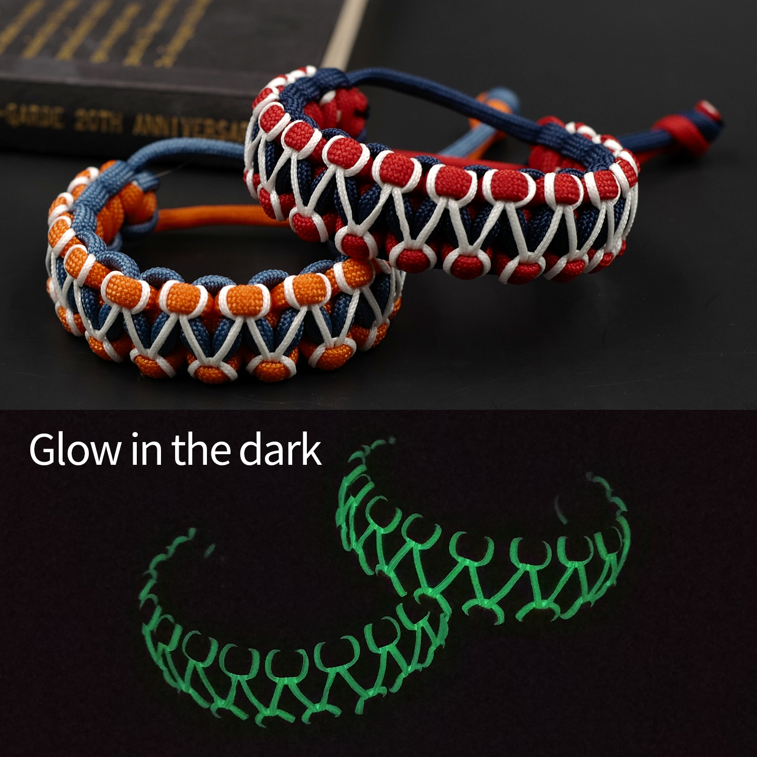 Adjustable Survival Emergency Glow In The Dark 550 Paracord Bracelet Parachute Cord Bracelet Wristband Camping Hiking Hand-made