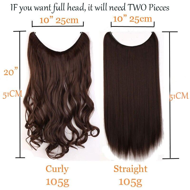 S Noilite 51cm Women Fish Line Hair Extensions Black Brown Blonde