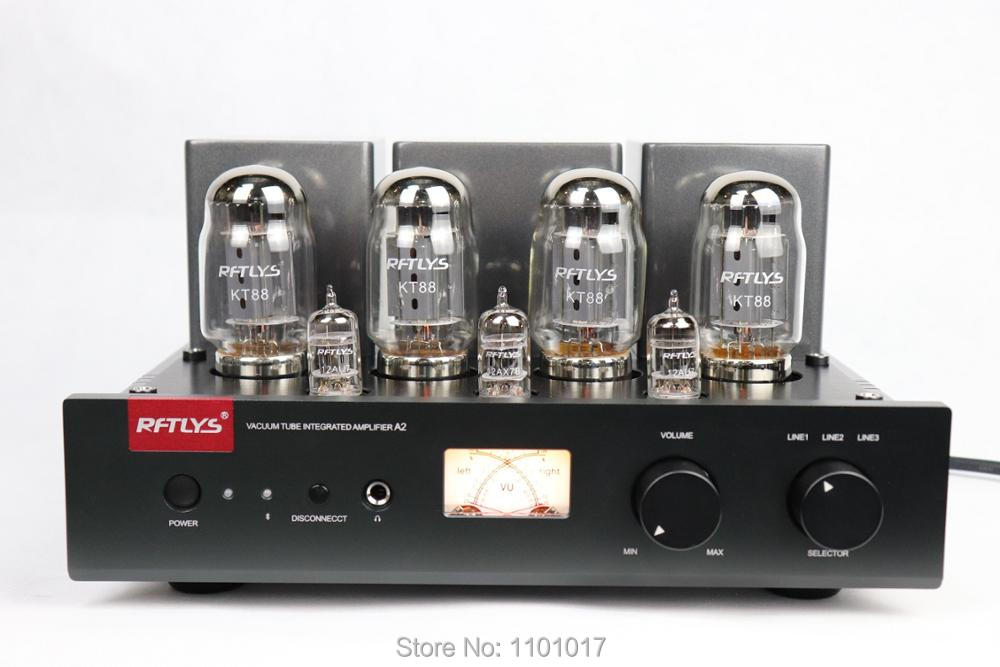 RFTLYS A2 KT88 Push Pull Tube Amplifier HIFI EXQUIS Integrated 12AU7 Lamp AMP With Bluetooth meixing mingda mc368 b kt88 push pull tube amplifier hifi exquis high power 50wx2 integrated lamp 6n8p 6sn7 amp