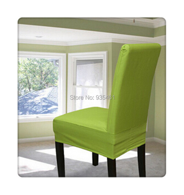 100PCS Lycra Surefit Spandex Short Dining Chair Cover /cases For Chairs/  Green