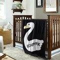 Новый Черный и белый 100% Хлопок Детские Трикотажные Пеленать Одеяло Диван Кроватки Коляска Детская Кроватка Кровать 110'x90cm' Детское Одеяло