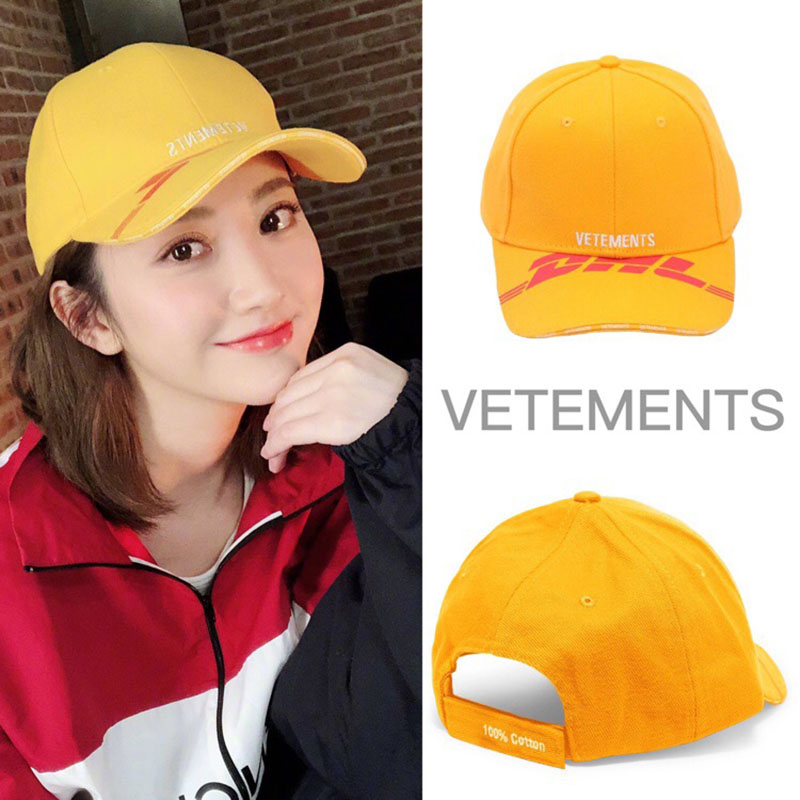 DHL Vetements Hat Men Women Summer Yellow DHL Vetements Baseball Cap Casual Hip Hop Adjustable DHL Vetements Hat