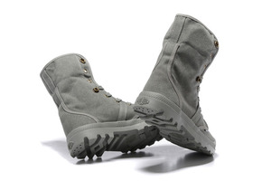 Image 3 - PALLADIUM Pallabrouse All Grey Sneakers Men High top Military Ankle Boots Canvas Casual Shoes Men Casual Shoes Eur Size 39 45