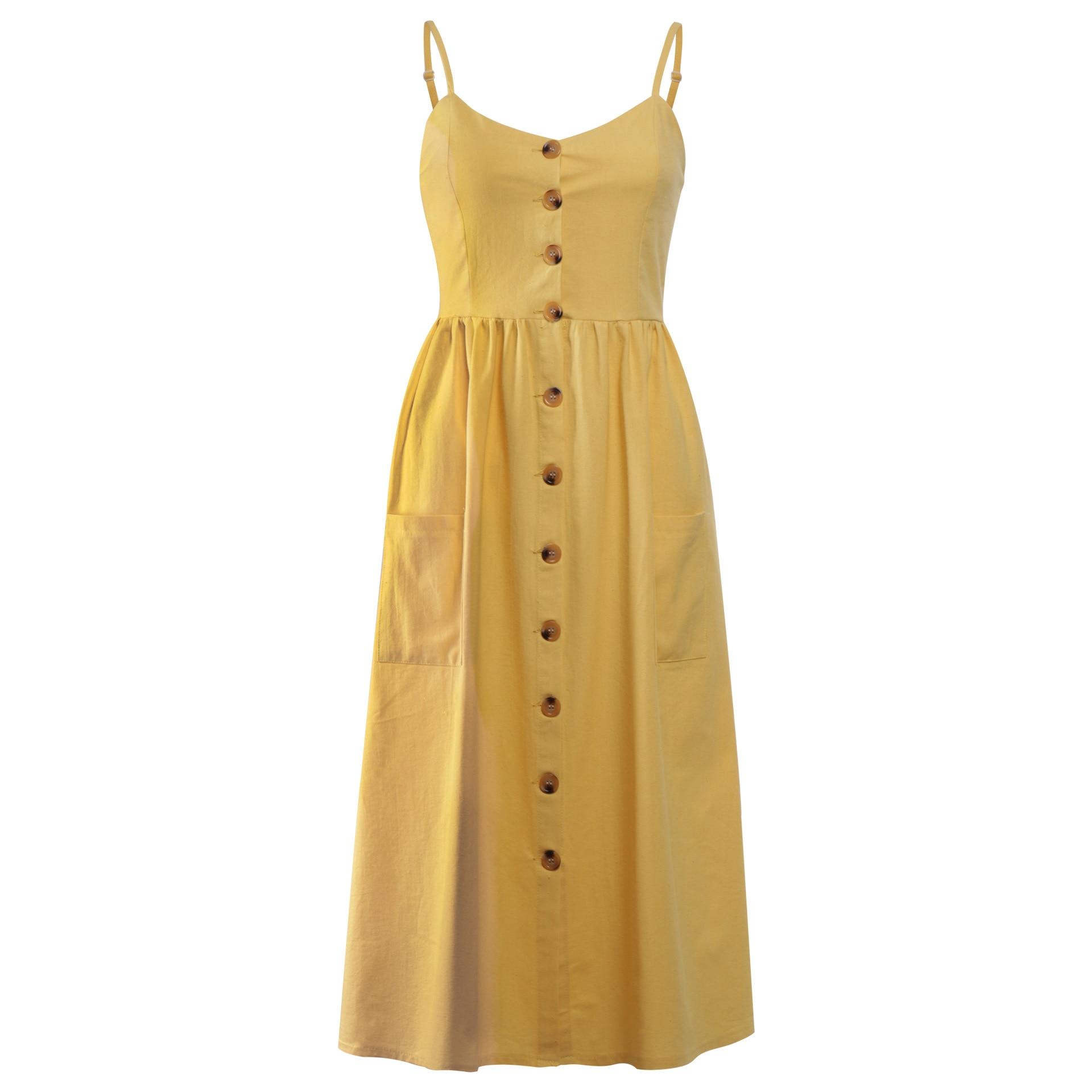 Button Striped Print Cotton Linen Casual Summer Dress 19 Sexy Spaghetti Strap V-neck Off Shoulder Women Midi Dress Vestidos 12
