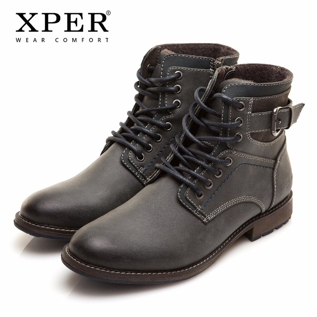 גדול גודל 40 ~ 46 קצפת חמה חורף מגפי גברים רוסית סגנון בעבודת יד נוחות גברים חורף שלג נעלי אופנה קרסול מגפיים # XHY11309BL