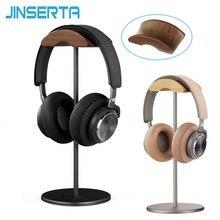 JINSERTA Universal หูฟังขาตั้งผู้ถือแขวนไม้ + อลูมิเนียมชุดหูฟังจอแสดงผลชั้นวางสำหรับหูฟัง