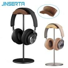 Jinserta ユニバーサルヘッドフォンスタンドホルダーハンガー木製 + アルミヘッドセットデスク陳列棚ラック用