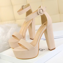 цены Women 13.5 cm Thick High Heel Peep-toe Pumps Shoes Summer Solid Sexy Club Platform 4.5 cm PU Buckle Cover Party Sandals Shoes