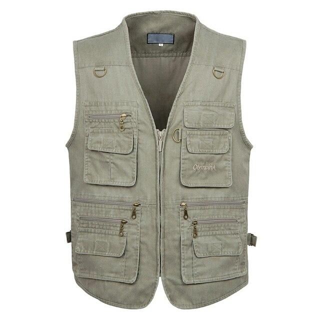 5XL 6XL 7XL Nam Mới Cổ Mùa Hè Size Lớn Cotton Vest Không Tay Với Nhiều 16 Túi Nam Đa Năng Bỏ Túi Chụp Ảnh áo khoác phao