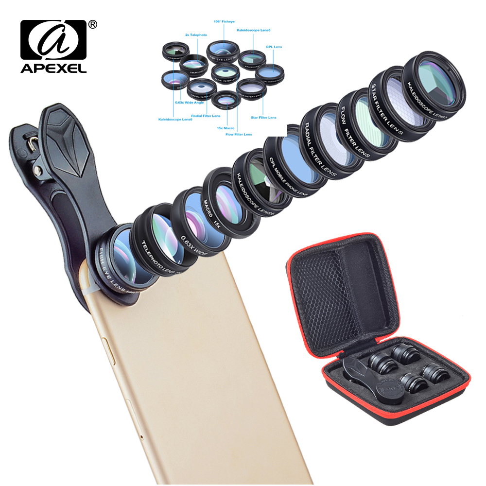 APEXEL 10in1 Phone Camera Lens Kit Fisheye Wide Angle Telescope Macro Mobile Lenses For iPhone X XS Max and Other Android
