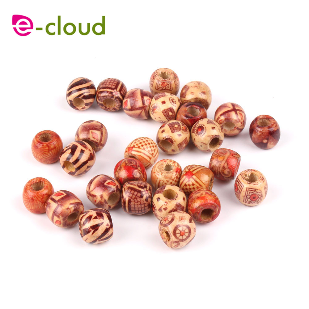 100pcs Large Hole Wooden Beads Wooden Hair Braid Beads for Hairstyle Making WA