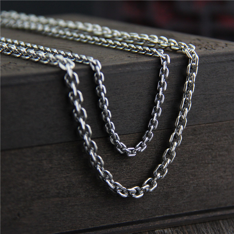 C&R Real 925 Sterling Silver Necklace 4.5mm width link chain long sweater chain necklace for women men Thai Silver Fine Jewelry C&R Real 925 Sterling Silver Necklace 4.5mm width link chain long sweater chain necklace for women men Thai Silver Fine Jewelry