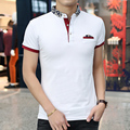 2016 New Style Men POLO Shirt Fashion Print Collar Solid Polo Homme Summer Slim Fit Short-sleeve Camisa Polo Men Free shipping