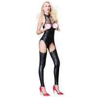 Body Sexy Hot Erotic Women Fetish Lingerie Bodysuit Black Leather Open Bust Crotless Bandage Bodysuit Vinyl Catsuit Clubwear
