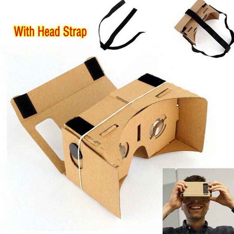 """DIY Google cardboard виртуальной реальности Очки VR мобильного телефона 3D просмотра Очки для 5.0 """"Экран или с головой монтажа ремень"""