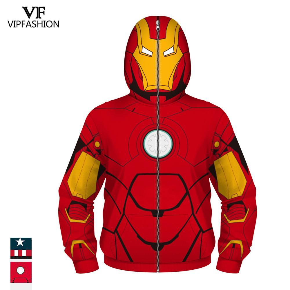 VIP FASHION Children's Boys Zpper Hoodies Avengers Marvel Superhero Iron Man Captain America Spiderman Kid Cartoon Jacket 4 13T-in Hoodies & Sweatshirts from Men's Clothing