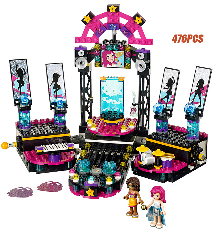 My good friends pop star show stage building block andrea livi Band figures instrument Drum Kit bricks 41105 toys for girls club