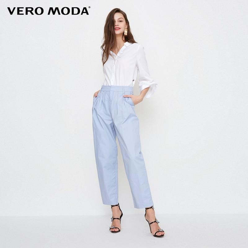 Vero Moda New Women's Radish Leg High Waist Cotton Cropped Casual Suit Pants   318250520