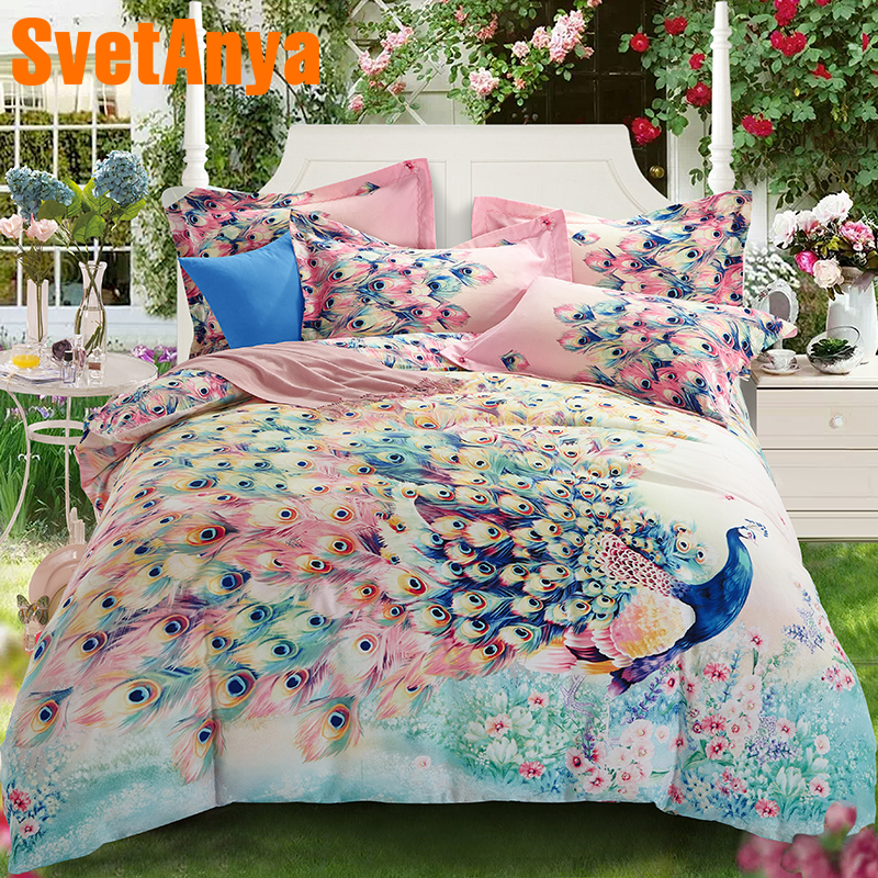 Svetanya Sheet Pillowcase Quilt Cover Set sanded Cotton Peacock Print Bedding Kit Double Queen King size Bedlinen Svetanya Sheet Pillowcase Quilt Cover Set sanded Cotton Peacock Print Bedding Kit Double Queen King size Bedlinen