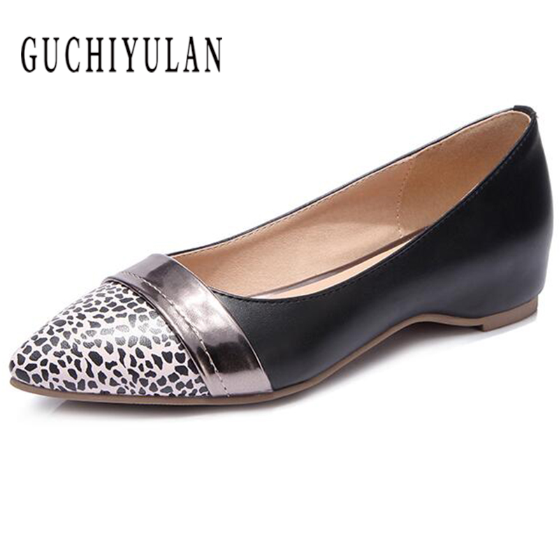 brand new casual loafers women's large size slip flats female creepers shoes 100%leather pointed toe flat shoes low-heeled shoes