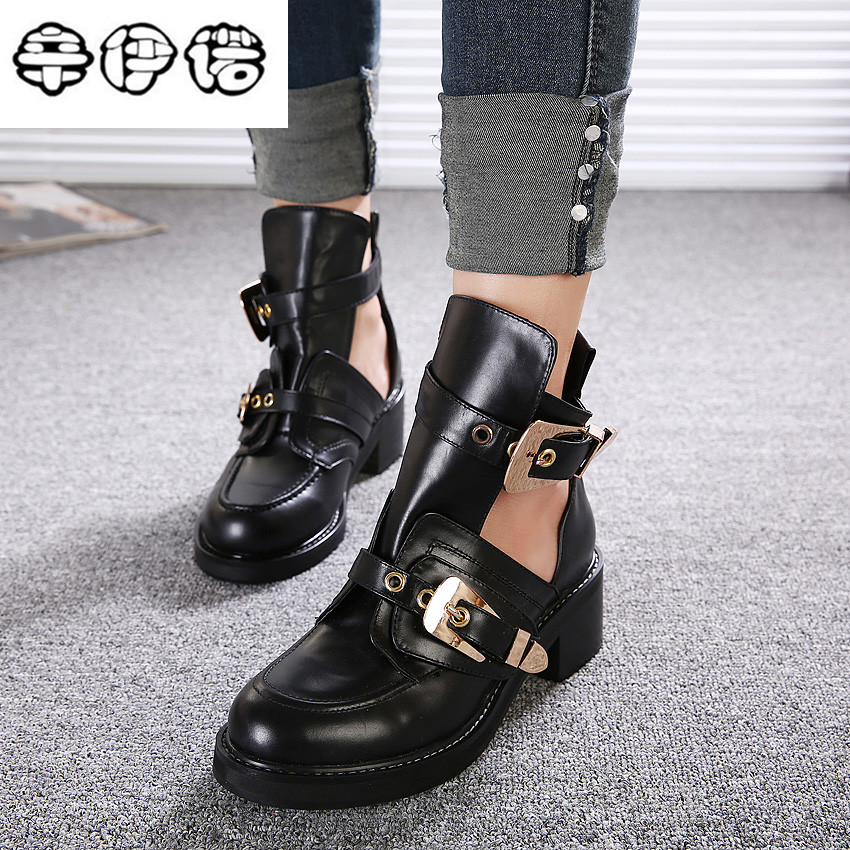 9d8072de8d2 Brand New Gold Silver Buckle Ankle Boots for Women Fashion Cut out  Gladiator Low Heel Shoes Motorcycle Boots Spring Autumn Boots
