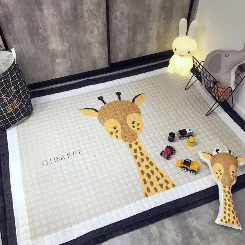 Big size 145*195cm Anti-Bacteria cartoon rabbit mat for children playing game, cute bear baby crawling pad, outdoor mat