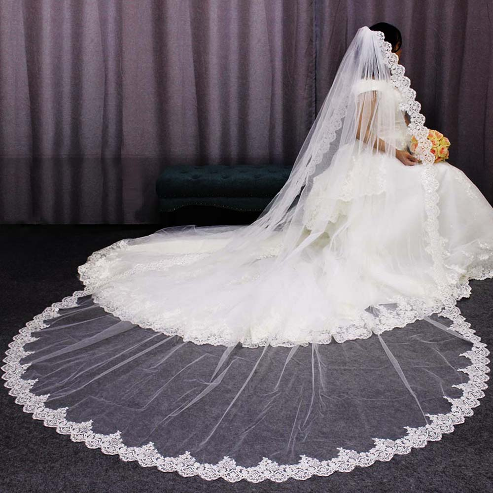Wedding Veil Voile Glitter Cathedral Sequins Long One-Layer Mariage Lace-Edge High-Quality