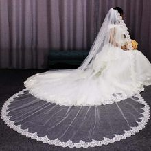 High Quality Neat Glitter Sequins Lace Edge 3 M Long Wedding Veil One Layer Cathedral Bridal Veil 2019 Voile Mariage(China)