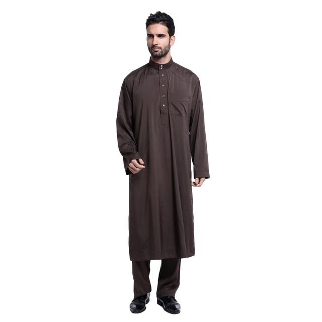 Botão Homens de moda Impressão Arábia Thobe Homens Galabeya Thoub Árabe Muçulmano Kaftan Abaya Robe Dishdasha Pano para Homens
