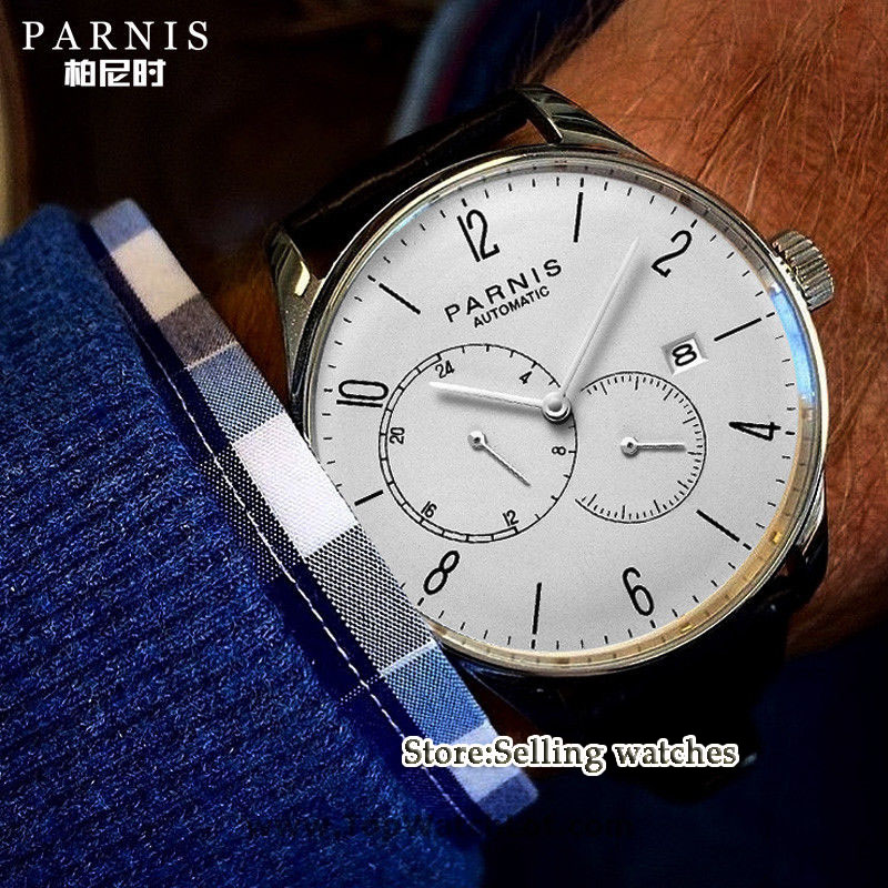 42mm Parnis white dial Roman Numerals Stainless Steel Case Complete Calendar MIYOTA Automatic movement Men's Watch цены