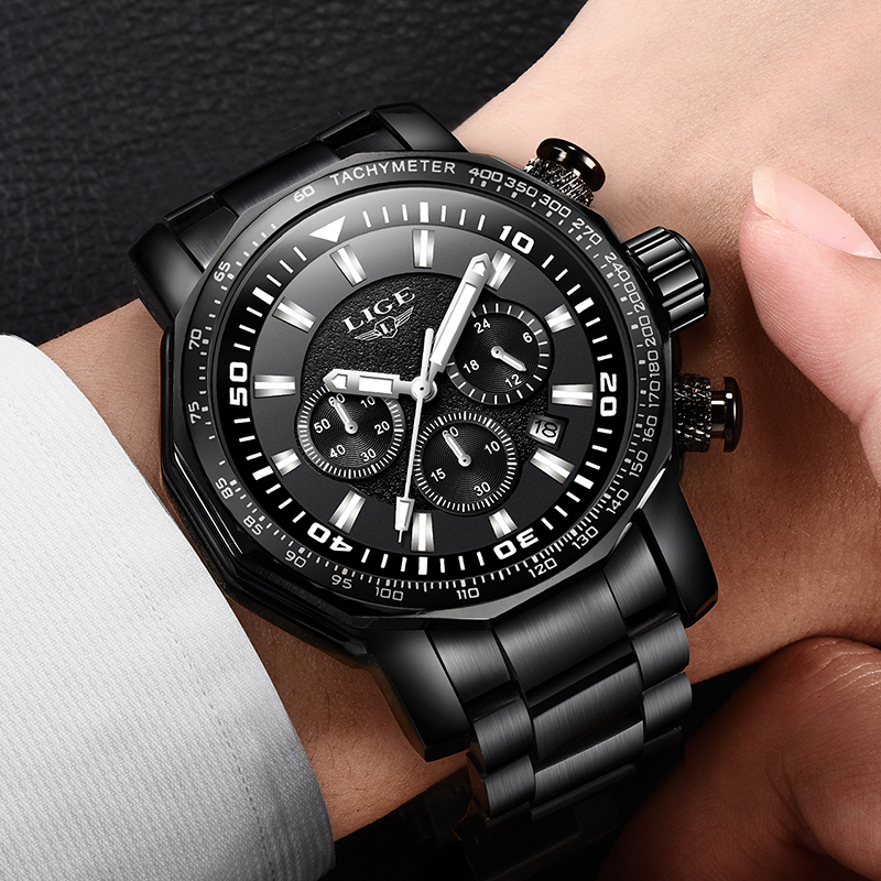 LIGE Mens Watches Top Brand Luxury Waterproof 24 hour Date Quartz Watch Man Full Steel Sport WristWatch Men Waterproof Clock+Box longbo top brand luxury lovers watch fashion full steel quartz watch men women waterproof auto date watches unisex hour montre