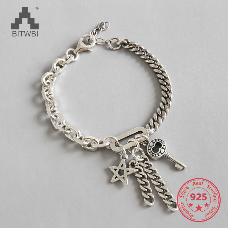 925 Sterling Silver Key & Star Bracelet for Women Men Couple Handmade Thai Silver Link Chain Bracelets Fine Jewelry 2018 mens jewelry double layer link chain men bracelets 925 sterling silver bracelets