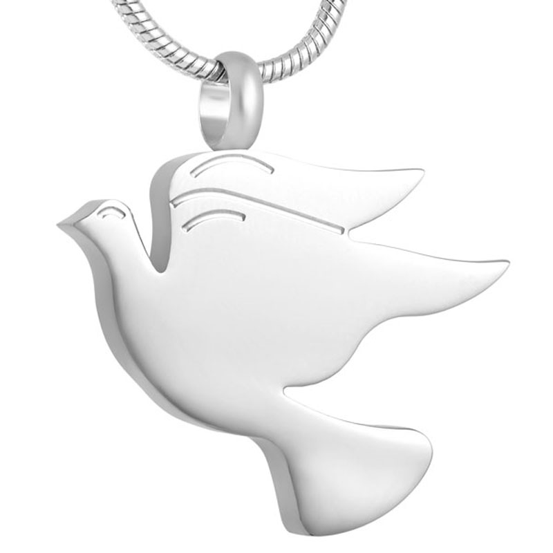 Peace Dove Cremation Urn Necklace Keepsake Memorial Jewerly with Free Engravable