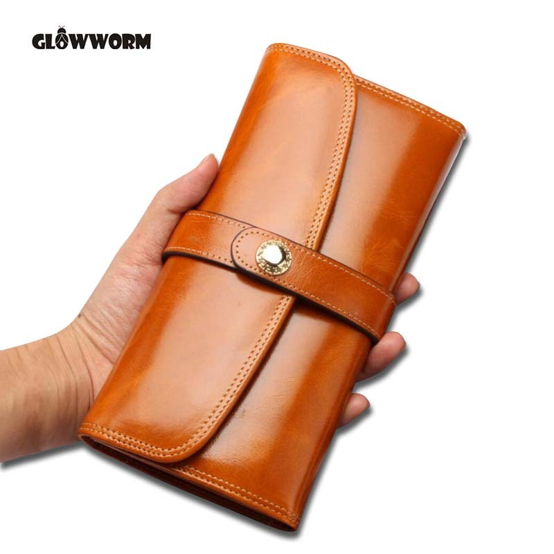 Women Dark Red Color Wallet 100% Top Genuine Oil Wax Cowhide Leather Long Bifold Wallets Purse Vintage Designer Coin Purse цена и фото