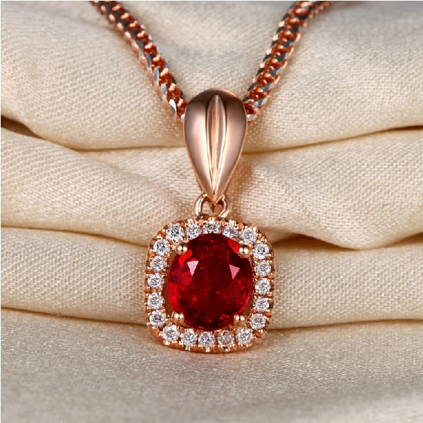 US $905 0  0 75ct real natural Burma red ruby pendant necklace with 18k  rose gold chain by DHL/Fedex/UPS/TNT/EMS free shipping-in Pendants from
