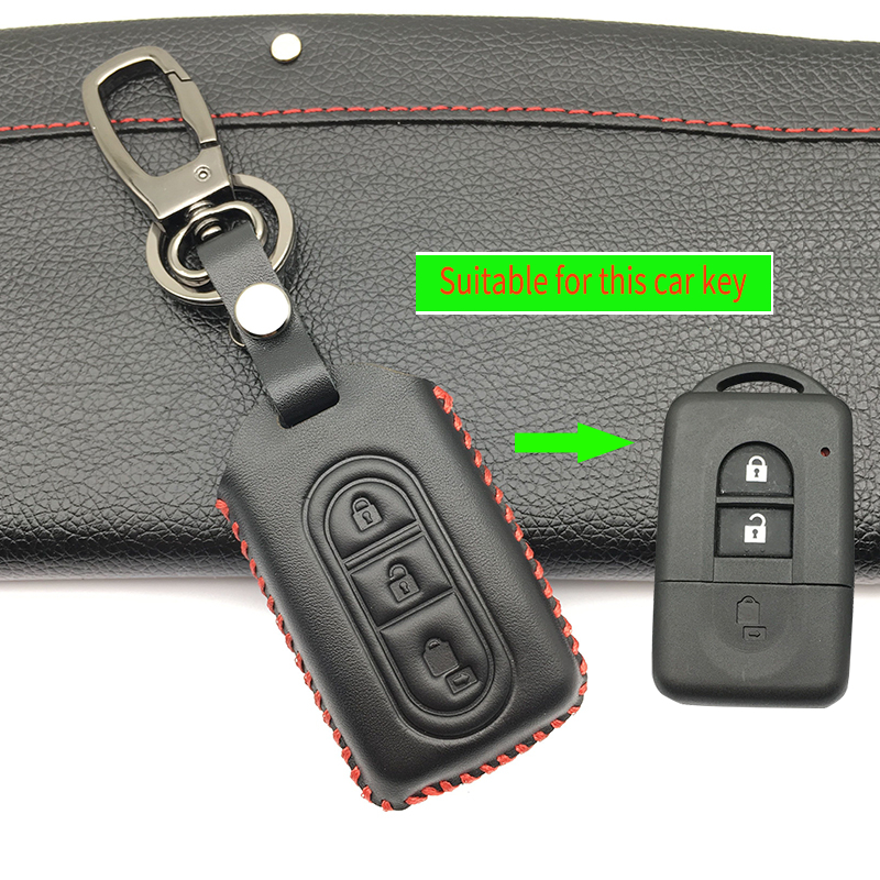 3 Button Fob Shell Remote Car Key 100% Leather Case Cover for Nissan Tiida Note Navara Qashqai Micra Juke X-Trail Pathfinder high quality leather car seat cover for nissan qashqai note juke tiida x trail car accessories car styling