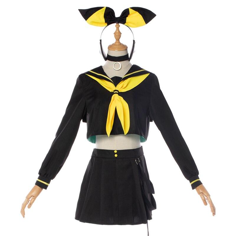 Vocaloid Kagamine Rin//Len Cosplay Costume Uniform Women Halloween Short Dress