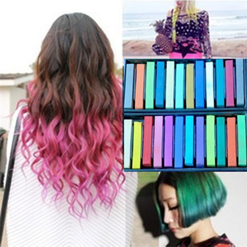 6/12/24/36 Colors Temporary Hair Dye Chalk Colorful Disposable Fluorescent Crayons Hair Coloring Rod Chalk For Hair Color Hot