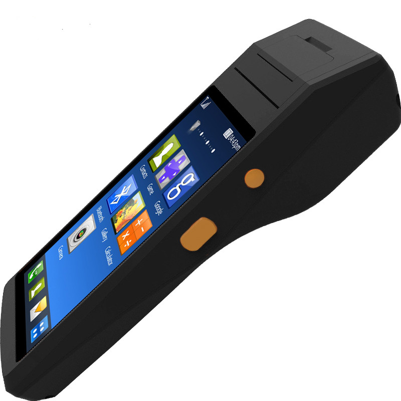 Android PDA with built in thermal printer 5.5 inch Touch screen Smart NFC 1D 2D barcode scanner handheld Android PDA Terminal