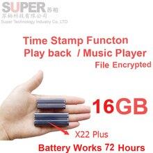 X22 + batería grande 16 GB MP3 player + cifrado de archivos de disco de memoria + voice recorder reproductor de música tiempo de sello audio recorder reproductor de audio