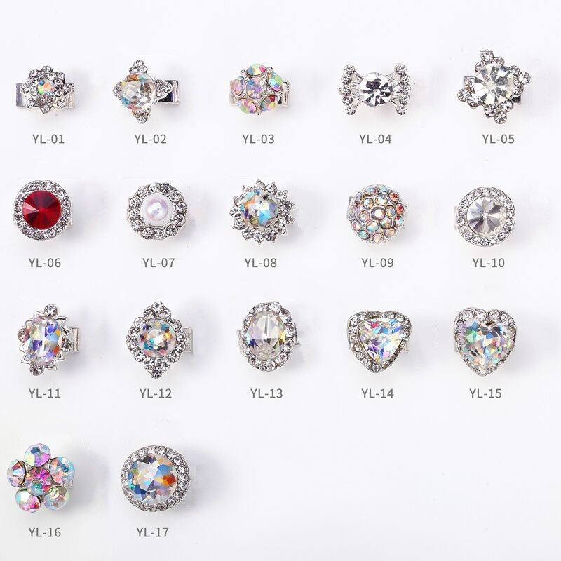 100pc 3D Spinning Alloy Nail Decoration/Silver Plated Spin Rhinestone Glitter Charm Nail DIY Deco/ Spinning Rotating Nail Deco hisenlee 1728pc pack multi size ss3 ss10 blue green pink white opal nail rhinestone glitter flat back crystal gems 3d nail art
