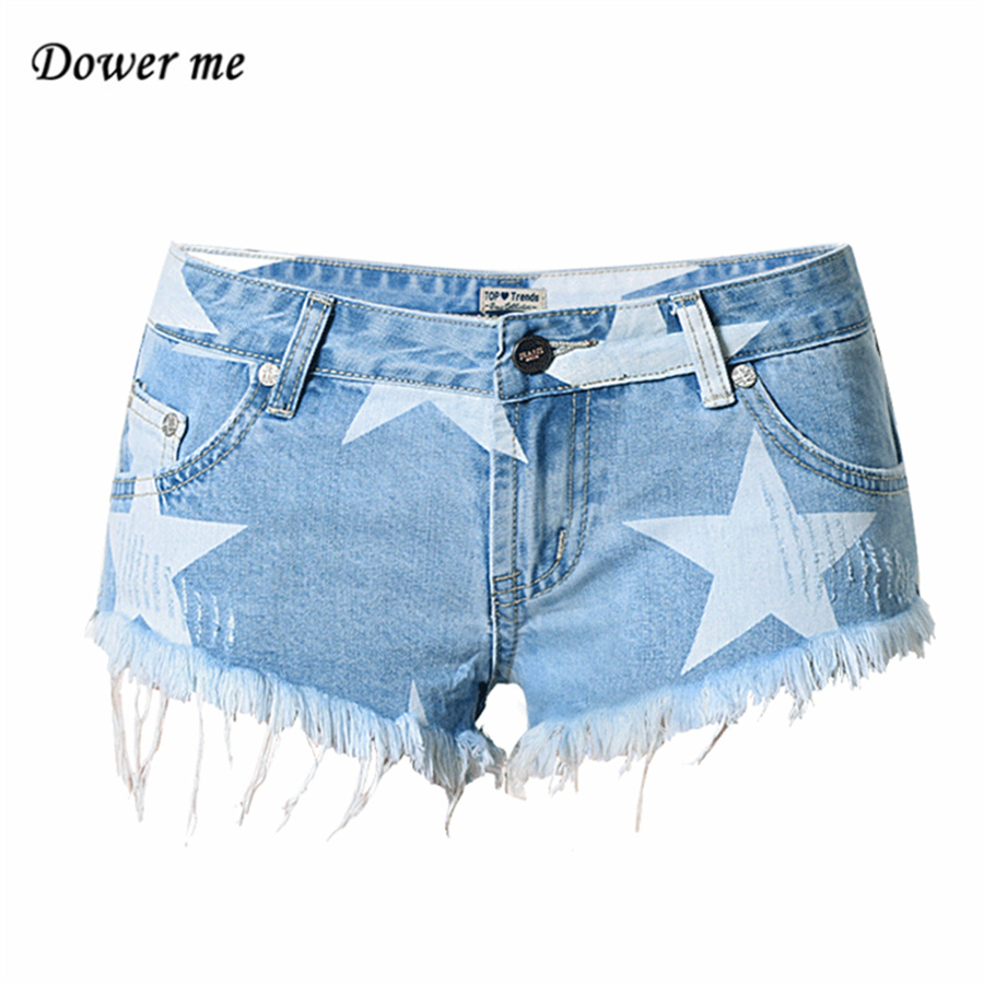 2017 Summer Fashion Printing Tassel Light blue Denim Shorts Women Casual Pocket Wide Leg Jeans Short Pants YN308
