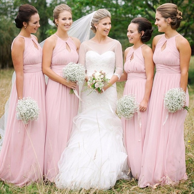 7f3291a16a2d New Arrival 2017 Pink Chiffon Bridesmaid dresses Long Sleeveless Halter  Prom Gown Simple Bridesmaid Gowns Vestidos