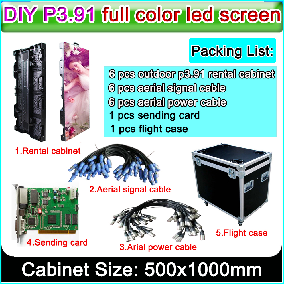 Super thin P3.91 500x1000mm outdoor rental cabinet hd led display screen,P3 P4 LED Video Wall Die Casting Aluminum Cabinet