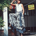 Aporia.As Women SpringSummer Novetly Personality Ethnic Patchwork Casual Loose Floral Print Bow Chiffon Irregular Wide Leg Pants